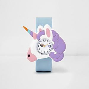Blauw horloge met eenhoornprint en druksluiting voor meisjes