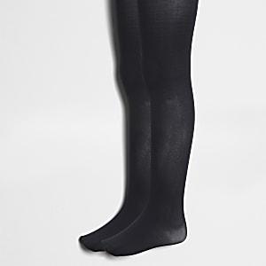 Schwarze Strickstrumpfhosen, 2er-Pack