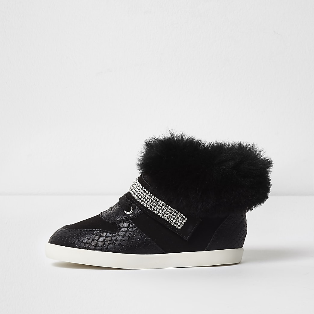 Mini girls black faux fur high top trainers