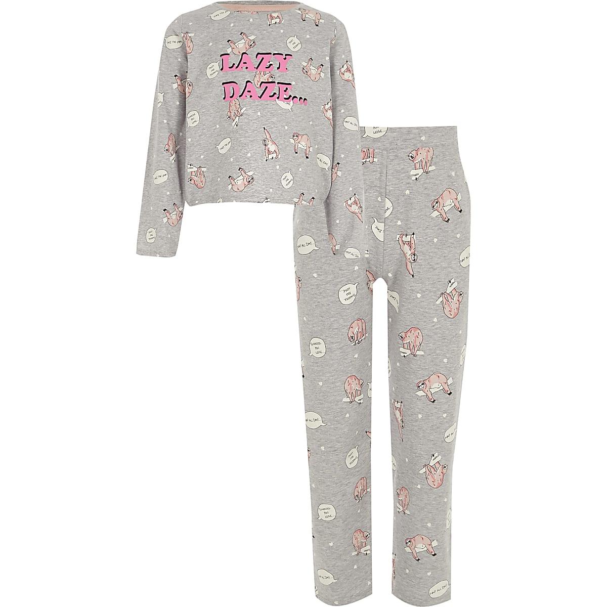 Girls grey 'lazy' sloth print pyjama set