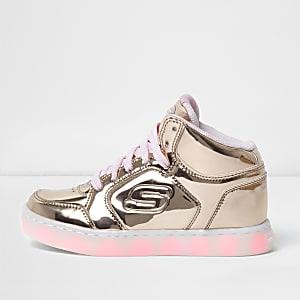 Girls gold Skechers light-up hi top sneakers