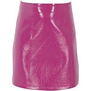 Jupe trapèze en vinyle rose pour fille