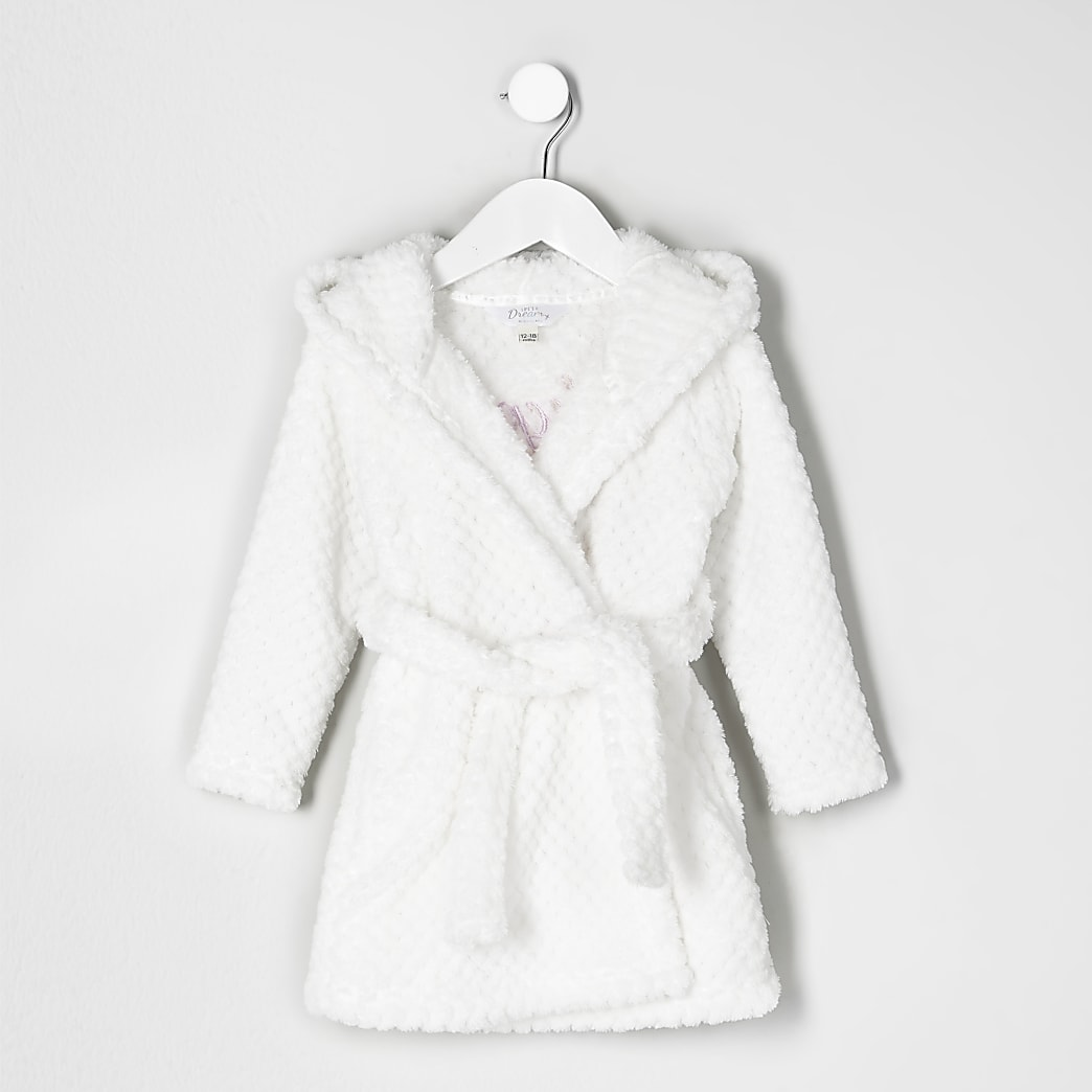 Mini girls cream quilted fluffy dressing gown