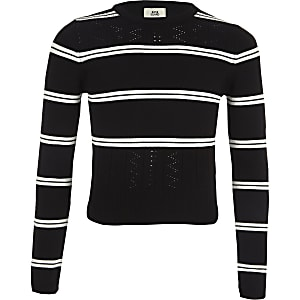 Girls black stripe fitted long sleeve sweater