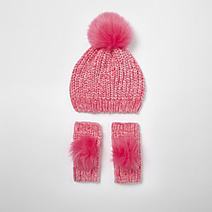 Girls pink chenille knit hat and mittens set