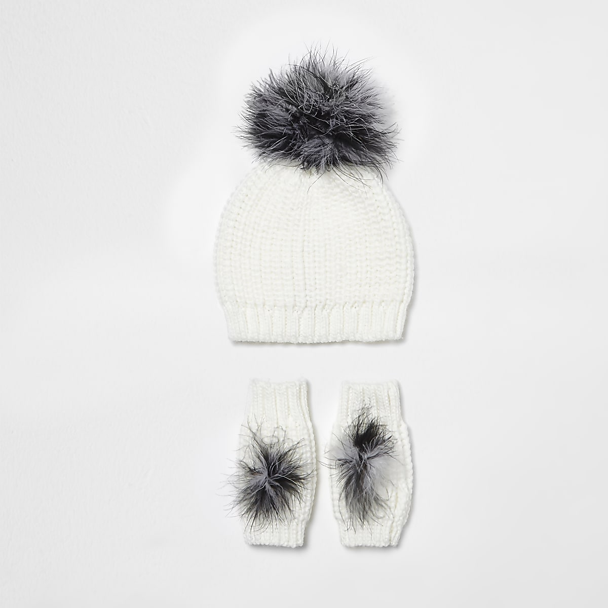 960e08753f1 Girls cream feather knit hat and mittens set - Hats - Accessories - girls