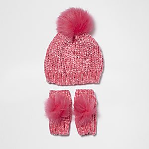 bacb5412e7f Mini girls pink chenille and faux fur hat set