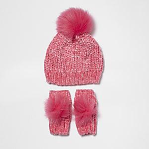 Ensemble bonnet en chenille et fausse fourrure rose mini fille