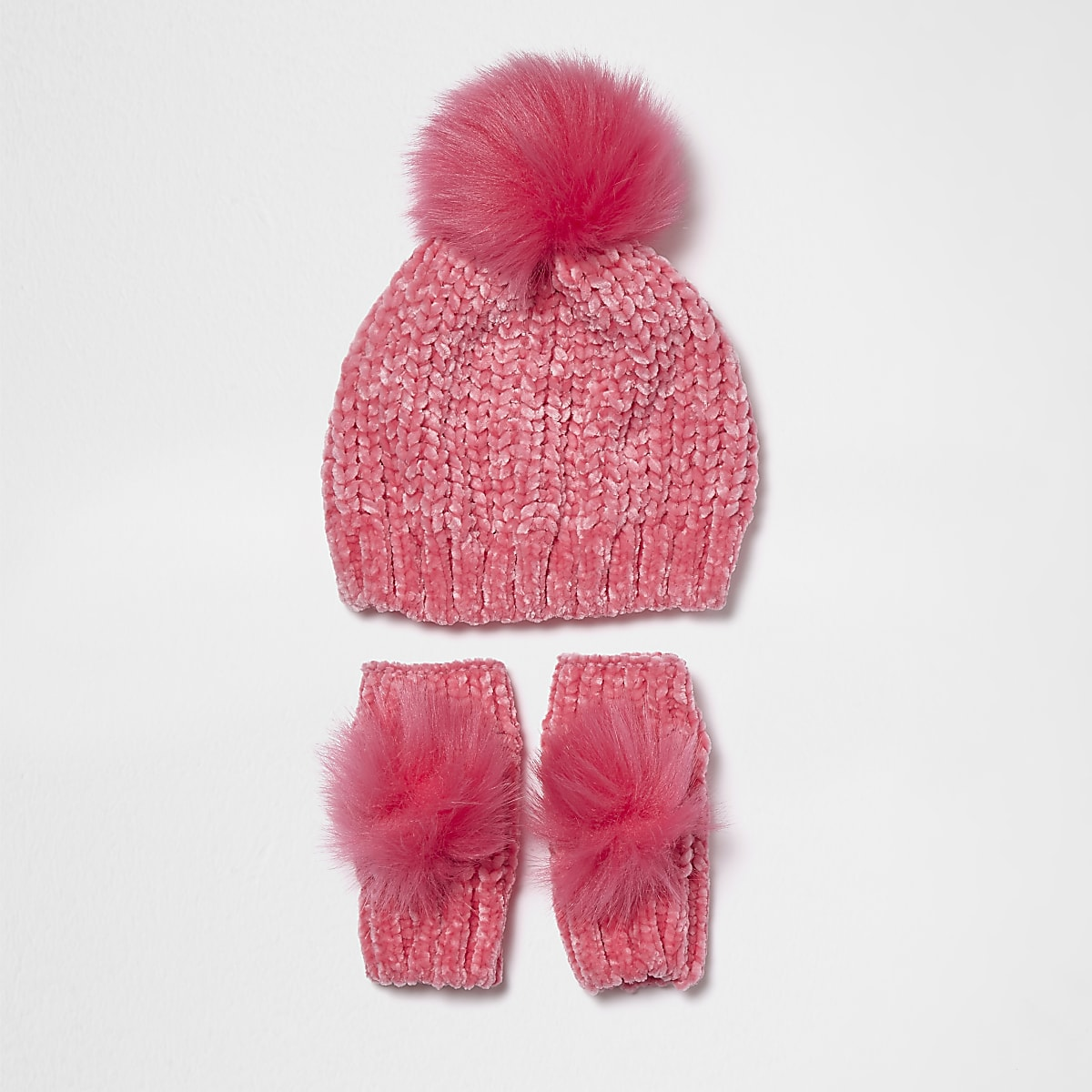 7aaae99bdb8 Mini girls pink chenille and faux fur hat set - Baby Girls Accessories -  Mini Girls - girls