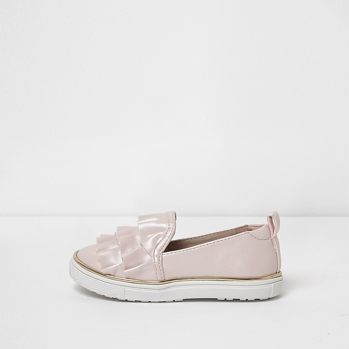 Mini girls pink satin ruffle plimsolls