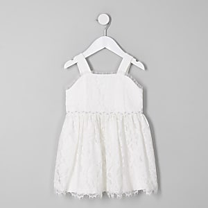 Mini girls white lace flower girl dress