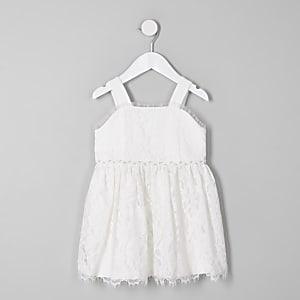 Mini - Witte kanten bruidsmeisjesjurk voor meisjes