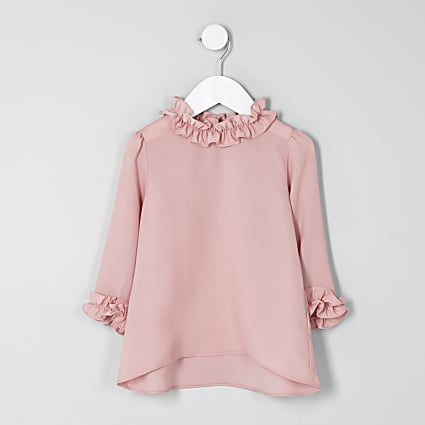 Mini girls pink ruffle trim long sleeve top