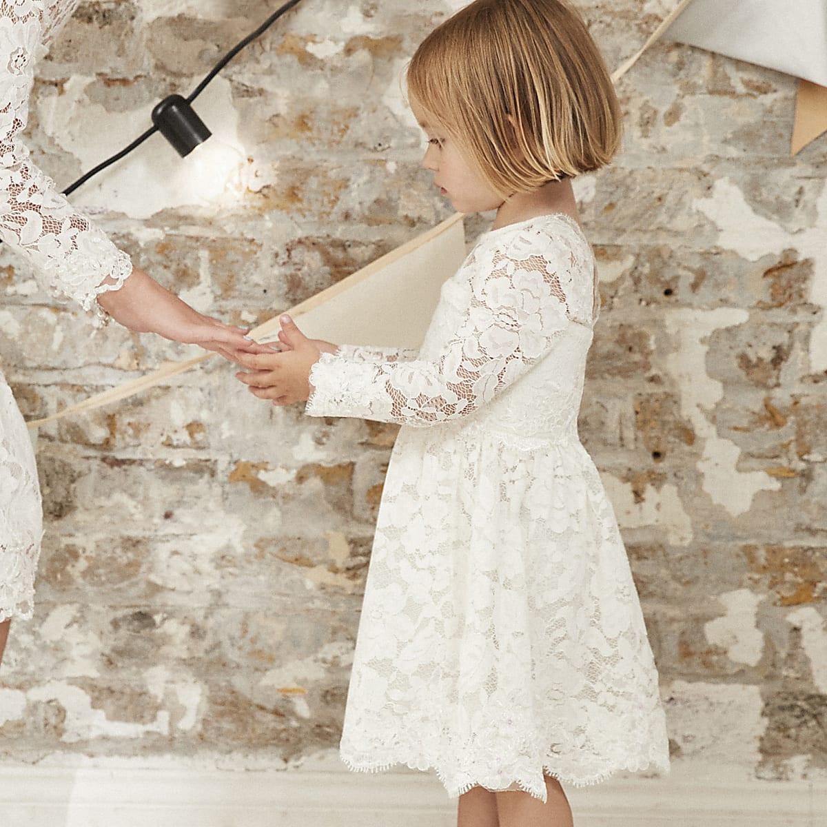 1e57c984919 Mini girls white lace flower girl dress - Baby Girls Dresses - Mini Girls -  girls