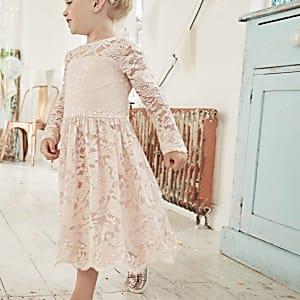 Mini - Roze kanten bruidsmeisjesjurk met bloemenprint voor meisjes