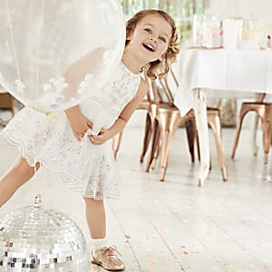 Mini girls white embroidery flower girl dress