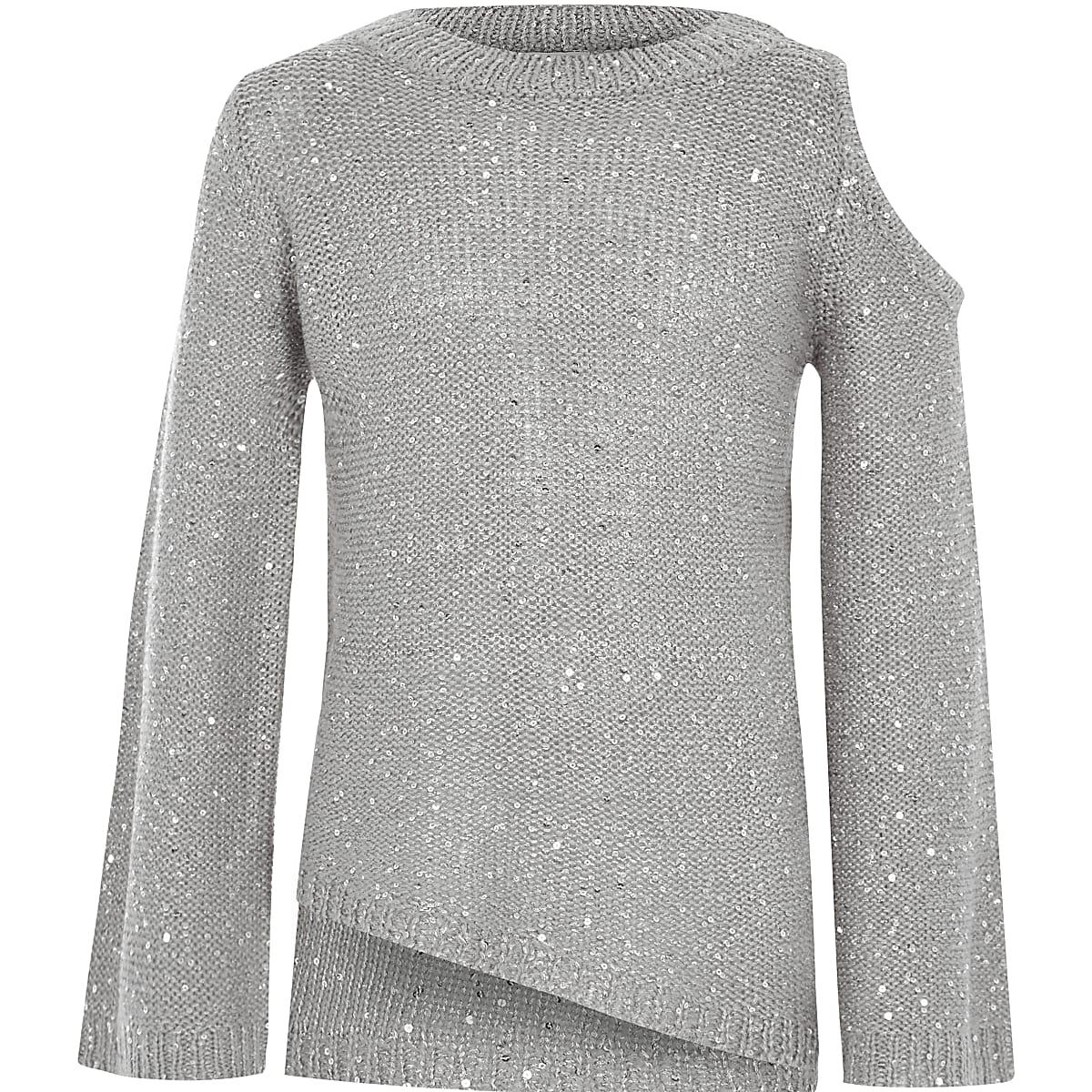 Girls grey sequin cold shoulder sweater