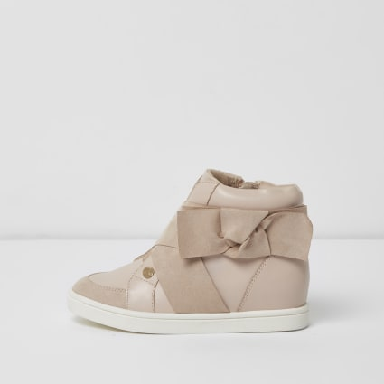 Girls pink bow side high top trainers
