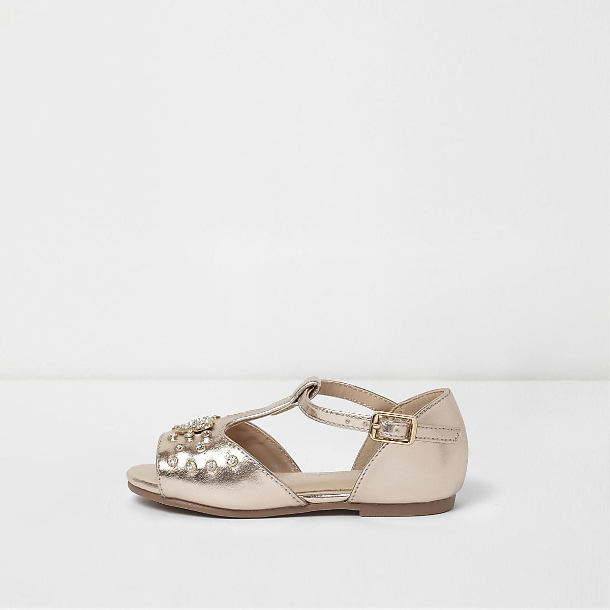 88597a8ce1ae Mini girls rose gold metallic T bar sandals - Baby Girls Shoes - Baby Girls  Shoes   Boots - Mini Girls - girls