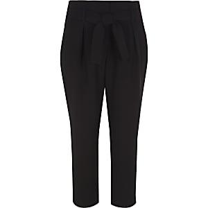 Zwarte smaltoelopende broek met strikceintuur voor meisjes