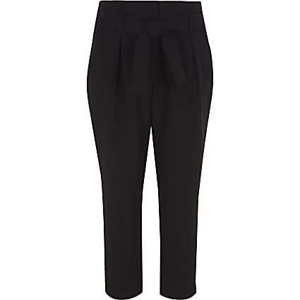 Girls black tie waist tapered trousers