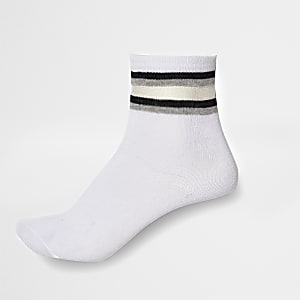 Kids white mesh stripe tube socks