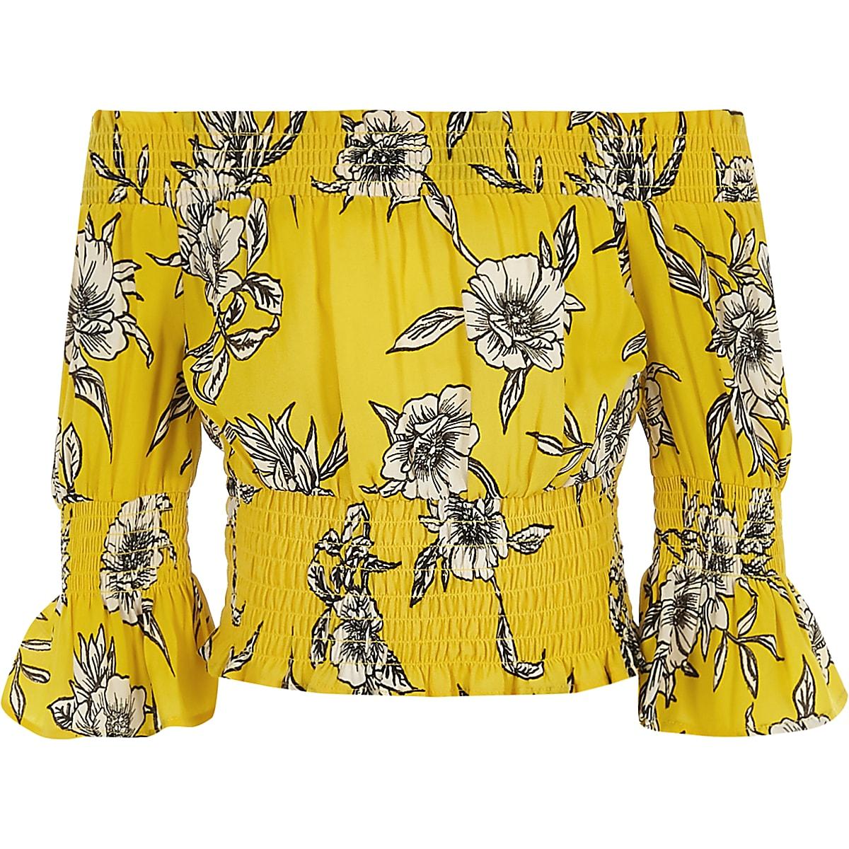 15e6feba36eec4 Girls yellow floral print shirred bardot top - Long Sleeve Tops - Tops -  girls