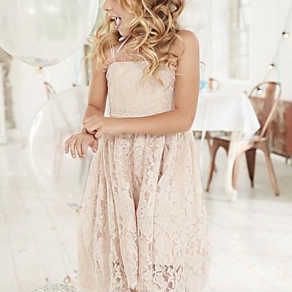 Girls pink lace high low flower girl dress