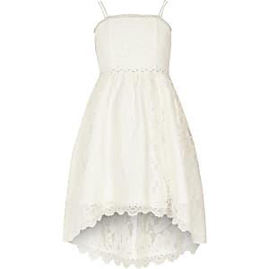 Robe de demoiselle d'honneur asymétrique en dentelle blanche fille