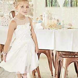 Robe de demoiselle d'honneur blanche avec jupe en tulle pour fille