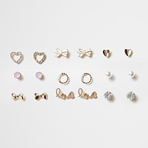 Set roségoudkleurige oorknopjes voor meisjes