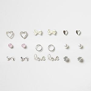 Set zilverkleurige oorknopjes voor meisjes