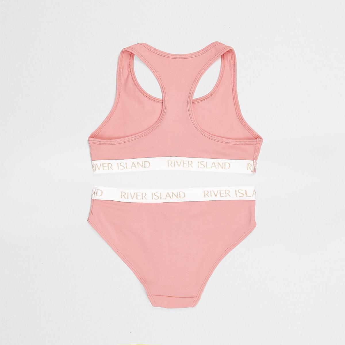 c8e6d13d0f0f Girls pink branded crop top and briefs set - Pyjamas & Underwear - girls
