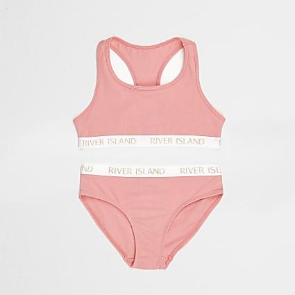 Girls pink branded crop top and briefs set