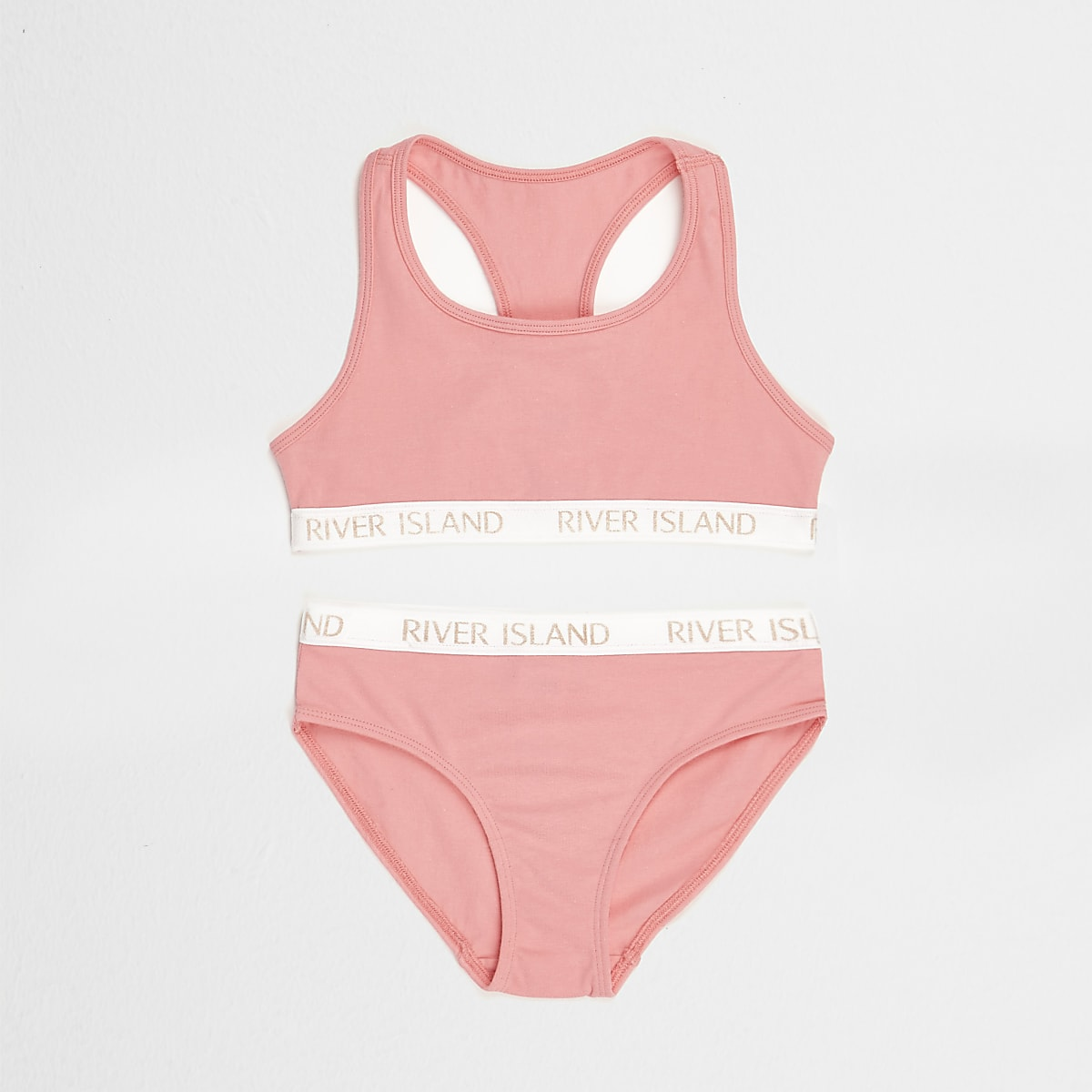 Girls pink branded crop top and briefs set