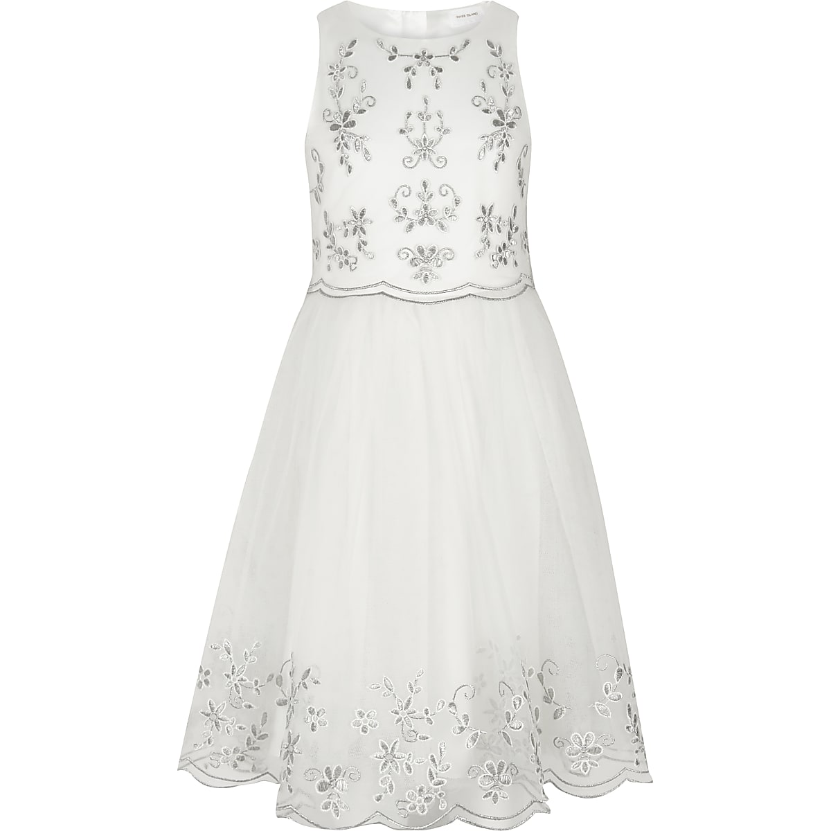 Witte geborduurde bruidsmeisjesjurk voor meisjes
