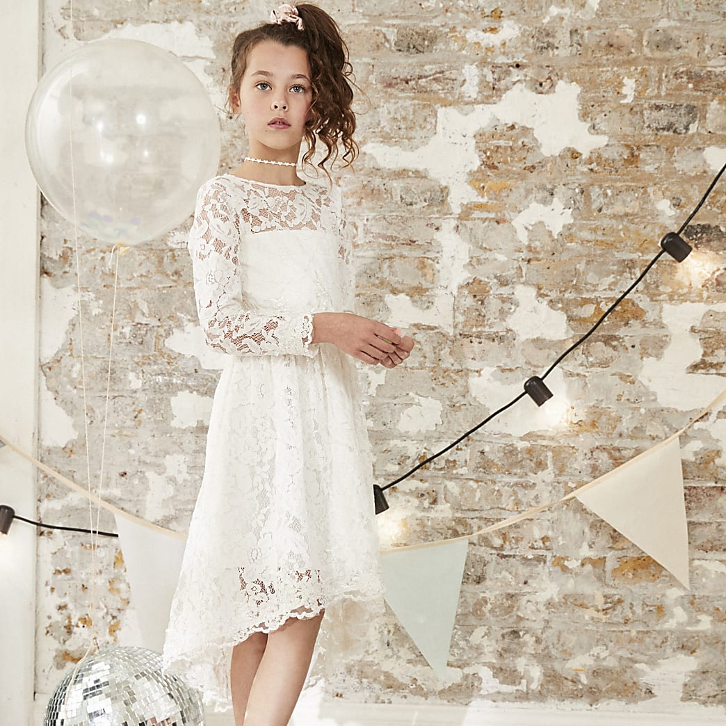 Girls white lace flower girl dress