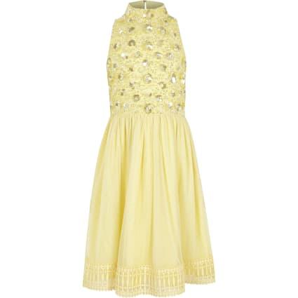 Girls yellow embellished flower girls dress