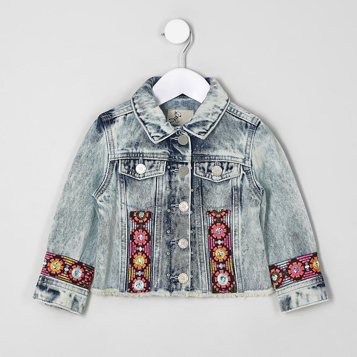 Mini girls blue embroidered trim denim jacket