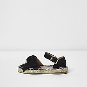 Schwarze Espadrille-Sandalen mit Schleife