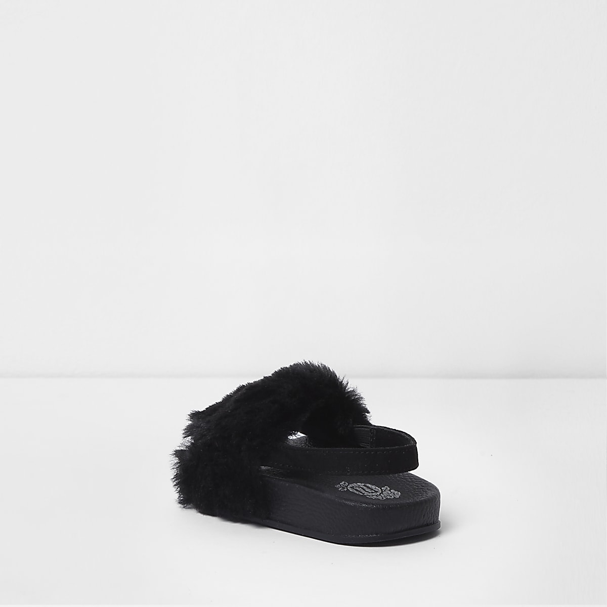 b8e0f507744e Mini girls black faux fur sling back sliders - Baby Girls Sandals ...
