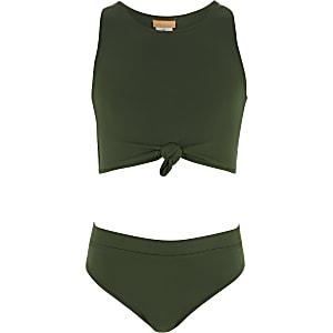 Girls khaki green knot front bikini