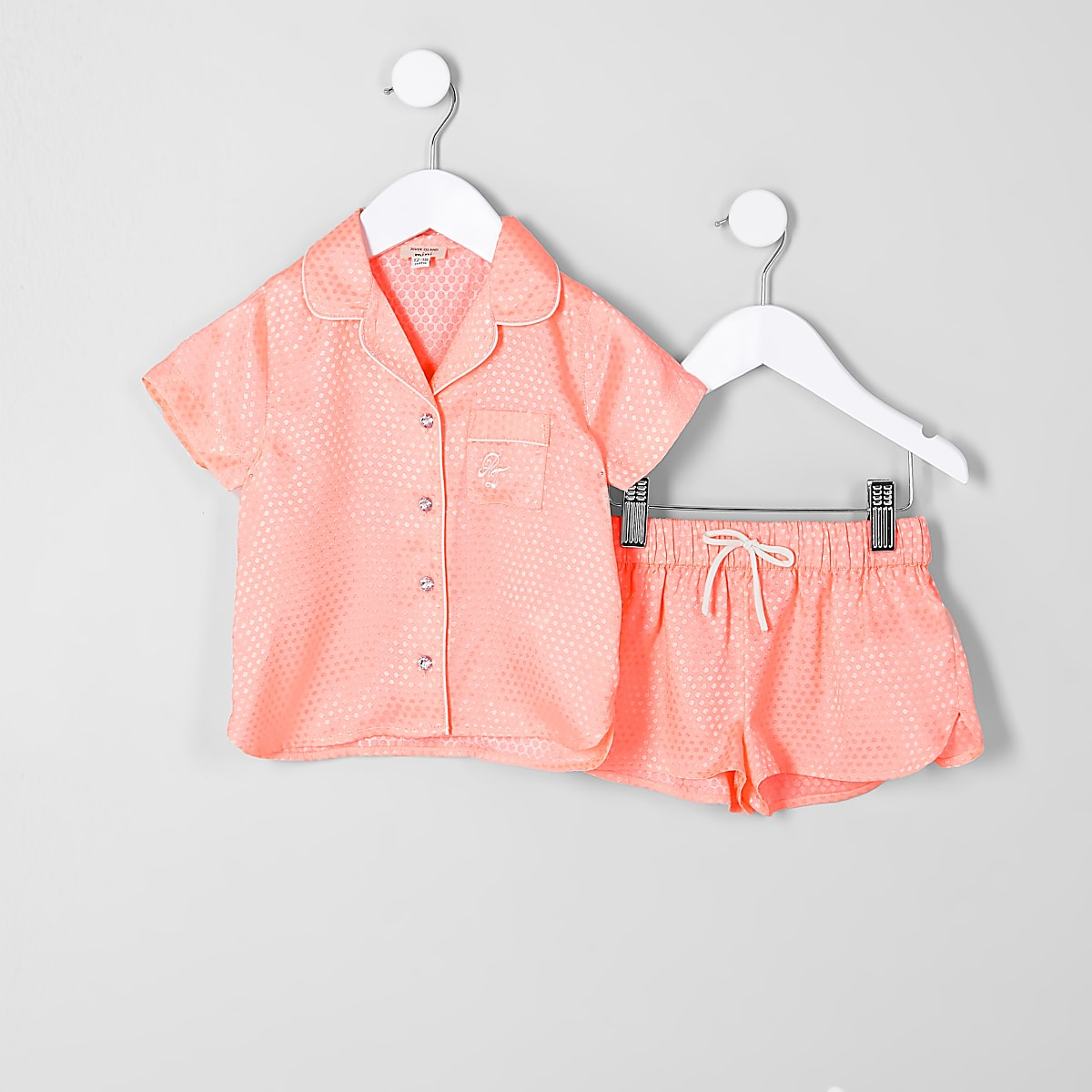 Mini girls coral jacquard shirt pyjama set