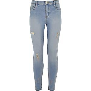 Amelie - Blauwe distressed skinny jeans voor meisjes