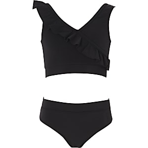 Girls black frill tankini