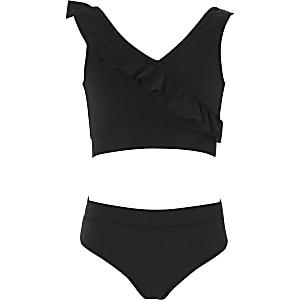 Zwarte bikini met ruches voor meisjes