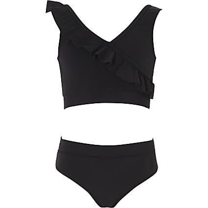 Girls black frill bikini set