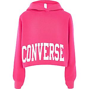 Converse – Sweat à capuche court rose vif pour fille