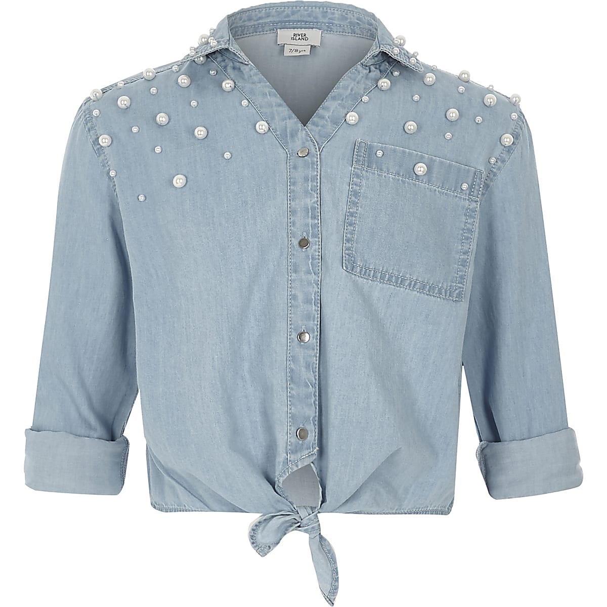 Girls blue pearl embellished denim tie shirt