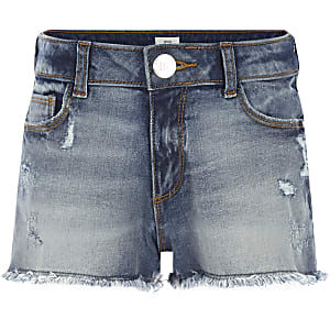 Girls blue distressed denim shorts
